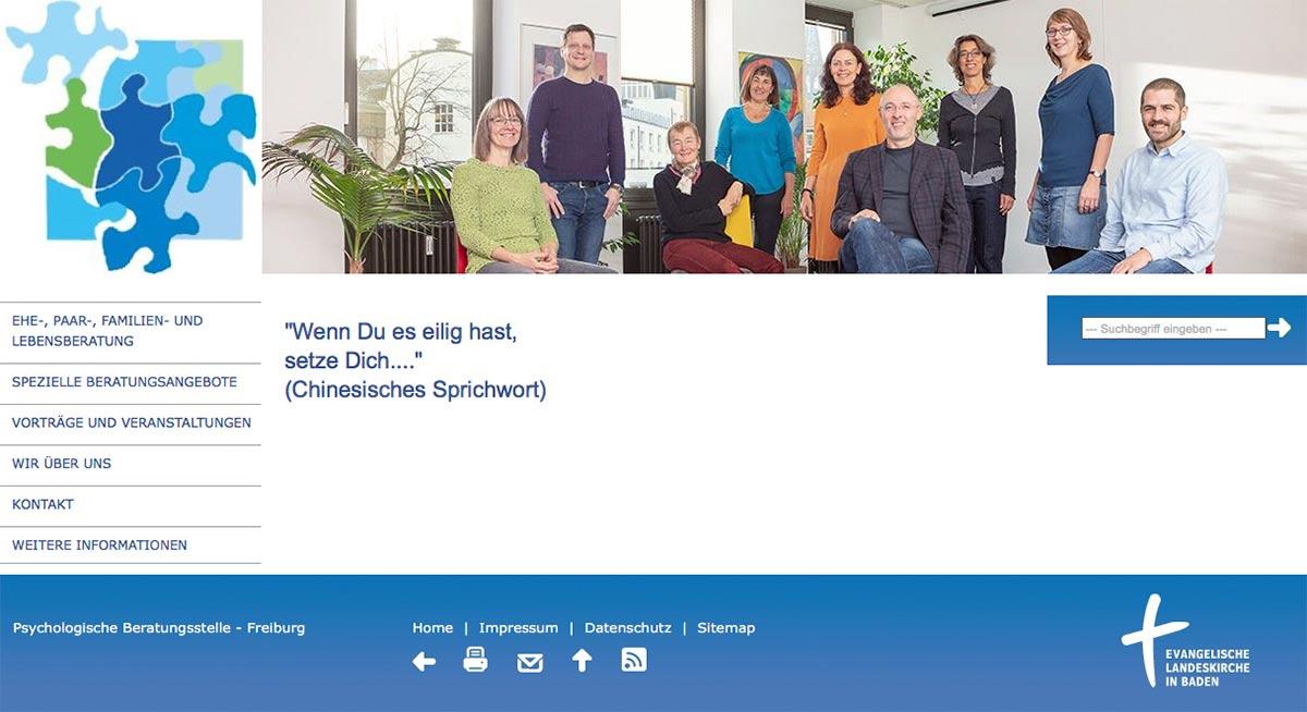 Screenshot der Website der Psychologischen Beratungsstelle in Freiburg