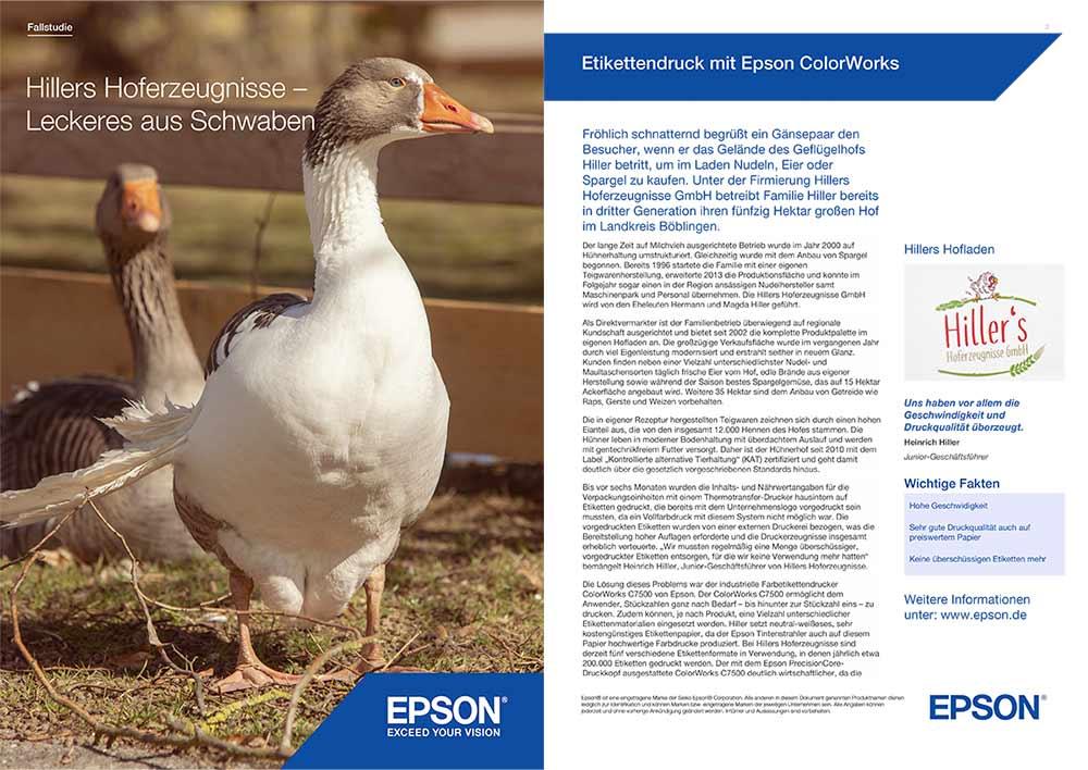 Titelseite einer Fallstudie von Epson mit Foto von Gänsen und Artikel über Drucker