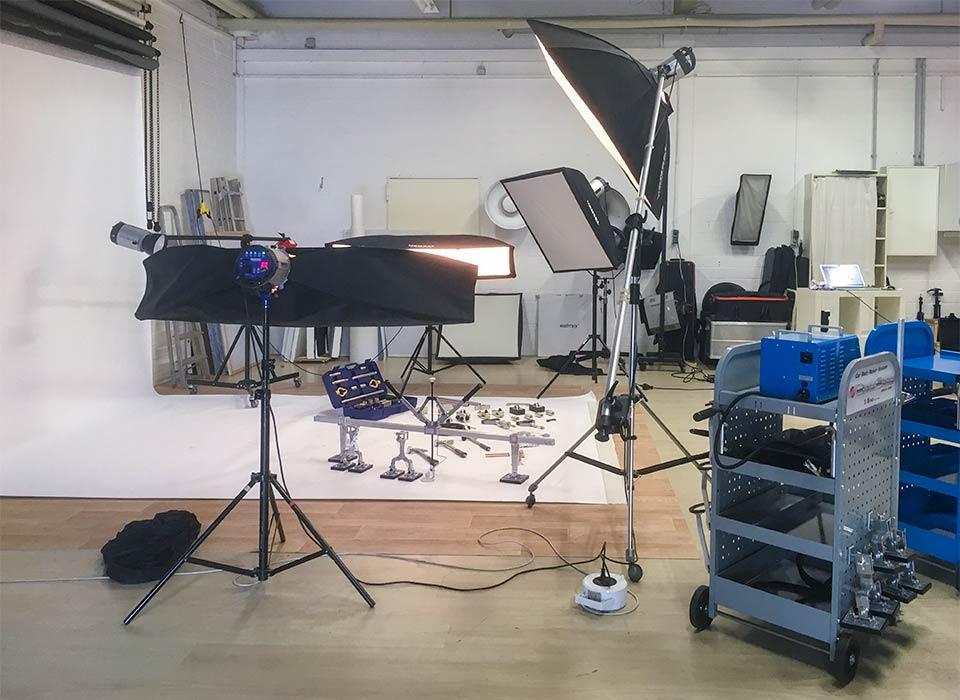 Foto eines Lichtsetups für Produktfotografie